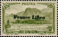 """[Tourism Stamps of 1933-1943 Overprinted """"France Libre"""" - Mountain Landscape, type BH8]"""