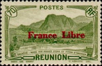 """[Tourism Stamps of 1933-1943 Overprinted """"France Libre"""" - Mountain Landscape, type BH9]"""