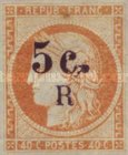 [French Colonies Postage Stamps Overprinted and Surcharged, type C2]