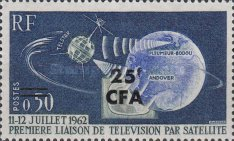 """[The 1st Live Satellite TV Transmission between America and Europe by """"Telstar"""" - Stamps of France Overprinted CFA and Surcharged, type DF1]"""