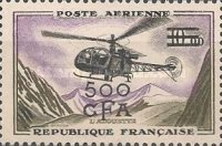 [Airmail - Stamp of France Surcharged, type DM]