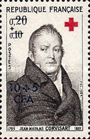 [Red Cross - Stamps of France Overprinted CFA and Surcharged, type DN]