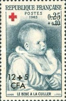 [Red Cross - Stamps of France Overprinted CFA and Surcharged, type DR]
