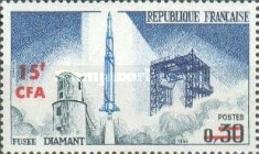 [Launching of the 1st French Satellite - Stamps of France Overprinted CFA and Surcharged, type DT]