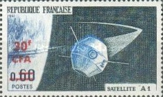 [Launching of the 1st French Satellite - Stamps of France Overprinted CFA and Surcharged, type DT1]