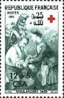[Red Cross - Stamps of France Overprinted CFA and Surcharged, type DU]