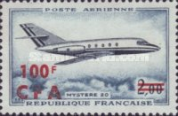 [Airmail - Airplanes - Stamp of France Overprinted CFA and Surcharged, type DW]
