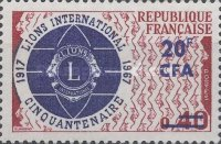 [The 50th Anniversary of Lions International - Stamp of France Overprinted CFA and Surcharged, type DZ]