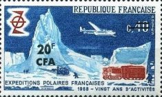 [The 20th Anniversary of French South Pole Exploration - Stamp of France Overprinted CFA and Surcharged, type EC]
