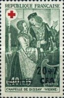 [Red Cross Stamps of France Surcharged, type EK]