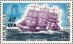 """[Cape Horn Clipper """"Antoinette"""" - Stamp of France Surcharged, type EN]"""