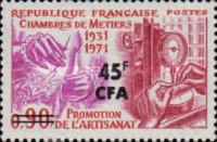 [The 40th Anniversary of 1st Meeting of Crafts Guilds Association - Stamp of France Surcharged, type EQ]