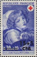 [Red Cross - Stamps of France Surcharged, type EW]
