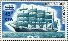 """[Large French Sailing Ship """"France II"""" - Stamp of France Surcharged, type FF]"""