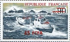 [French Lifeboat Service - Stamp of France Surcharged, type FM]