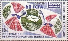 [The 100th Anniversary of UPU - Stamp of France Surcharged, type FO]