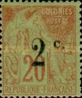 [French Colonies Postage Stamp Surcharged, type I2]