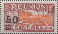 [Port of St. Denis - Previous Stamps Surcharged, type L20]