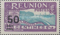 [Port of St. Denis - Previous Stamps Surcharged, type L21]