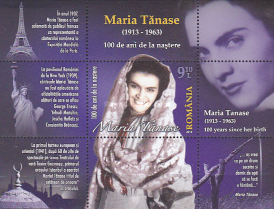 [The 100th Anniversary of the Birth of Maria Tănase, 1913-1963, type ]