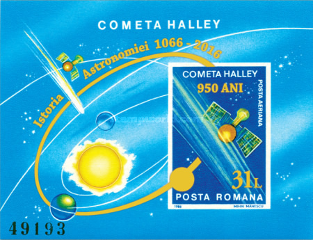 [The 950th Anniversary of the 1066 Observation of Halley's Comet - Issue of 1986 Surcharged, type ]