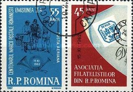 [Airmail - Stamp Day - The 100th Anniversary of Romanian Stamps, type CAZ]