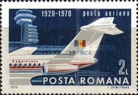 [The 50th Anniversary of the Civil Air Transport in Romania, type DDX]