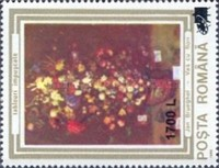 [Paintings Stamps of 1990 Surcharged, type HUU]