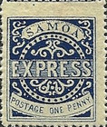 """[Express Stamps - Line Above """"X"""" Roughly Retouched. Upper Right Serif of """"M"""" Bends Down to Dot, type A12]"""