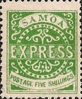 """[Express Stamps - Line Above """"X"""" Roughly Retouched. Upper Right Serif of """"M"""" Bends Down to Dot, type A20]"""