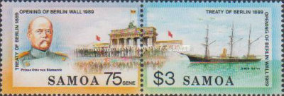 [Berlin Treaty of 1889 and Opening of Berlin Wall, 1989, type WX]