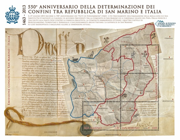 [The 550th Anniversary of the Definition of the Boarders between the Republic of San Marino & Italy - Joint Issue with Italy, Typ ]