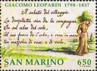 [The 200th Anniversary of the Birth of Giacomo Leopardi, 1798-1837, Typ BBS]