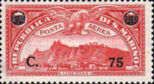 [Airmail -  Mount Titan (Monte Titano) - Airmail Stamps of 1931 Surcharged, type BQ1]