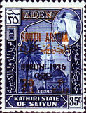 "[""SOUTH ARABIA"" Stamps of 1966 Overprinted with Olympic Host City, Year and Olympic Rings, type T3]"