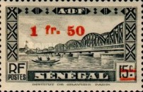 [Faidherbe Bridge & Diourbel Mosque Stamps of 1935 Surtaxed, type AK12]