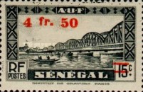 [Faidherbe Bridge & Diourbel Mosque Stamps of 1935 Surtaxed, type AK13]