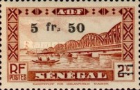 [Faidherbe Bridge & Diourbel Mosque Stamps of 1935 Surtaxed, type AK14]