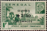 [Colonial Fund - Marshal Petain Stamps of 1941 Surcharged and Surtaxed, type BG3]