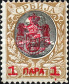 [Surcharged and Overprinted in Red, type K1]