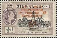 """[The 2nd Anniversary of Independence - Issues of 1956 Overprinted """"2ND YEAR OF INDEPENDENCE PROGRESS DEVELOPMENT 1963"""" and Surcharged Value, type AS2]"""