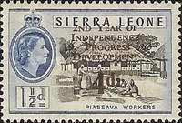 """[The 2nd Anniversary of Independence - Issues of 1956 Overprinted """"2ND YEAR OF INDEPENDENCE PROGRESS DEVELOPMENT 1963"""" and Surcharged Value, type AU1]"""