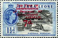 """[Airmail - The 2nd Anniversary of Independence - Issues of 1956 Overprinted """"AIR MAIL - 2ND YEAR OF INDEPENDENCE PROGRESS DEVELOPMENT 1963"""" and Surcharged Value, type AU2]"""