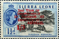 """[Airmail - The 2nd Anniversary of Independence - Issues of 1956 Overprinted """"AIR MAIL - 2ND YEAR OF INDEPENDENCE PROGRESS DEVELOPMENT 1963"""" and Surcharged Value, type AU3]"""
