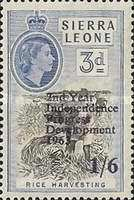 """[The 2nd Anniversary of Independence - Issues of 1956 Overprinted """"2ND YEAR OF INDEPENDENCE PROGRESS DEVELOPMENT 1963"""" and Surcharged Value, type AW2]"""