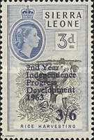 """[The 2nd Anniversary of Independence - Issues of 1956 Overprinted """"2ND YEAR OF INDEPENDENCE PROGRESS DEVELOPMENT 1963"""" and Surcharged Value, type AW3]"""