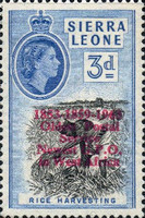 """[Airmail - The 2nd Anniversary of Independence - Issues of 1956 Overprinted """"AIR MAIL - 2ND YEAR OF INDEPENDENCE PROGRESS DEVELOPMENT 1963"""" and Surcharged Value, type AW4]"""