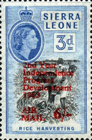 """[Airmail - The 2nd Anniversary of Independence - Issues of 1956 Overprinted """"AIR MAIL - 2ND YEAR OF INDEPENDENCE PROGRESS DEVELOPMENT 1963"""" and Surcharged Value, type AW5]"""