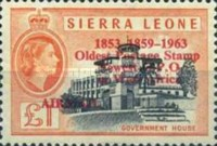"""[Airmail - The 2nd Anniversary of Independence - Issues of 1956 Overprinted """"AIR MAIL - 2ND YEAR OF INDEPENDENCE PROGRESS DEVELOPMENT 1963"""" and Surcharged Value, type XXC]"""