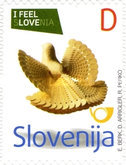 [I Feel Slovenia - Carved Wooden Pigeon - Self Adhesive, type YZ]